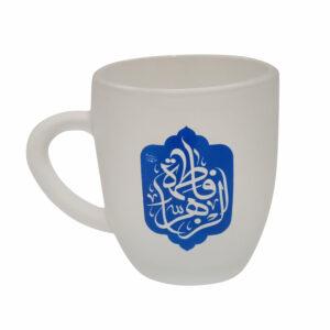 01320407-لیوان شیشه ای مذهبی کوتاه/فاطمه الزهرا آبی